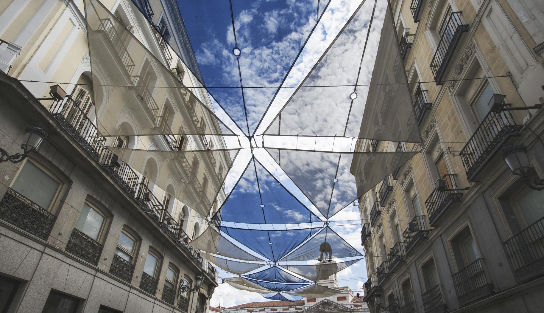 Typical toldo sunshade on spanish buildings